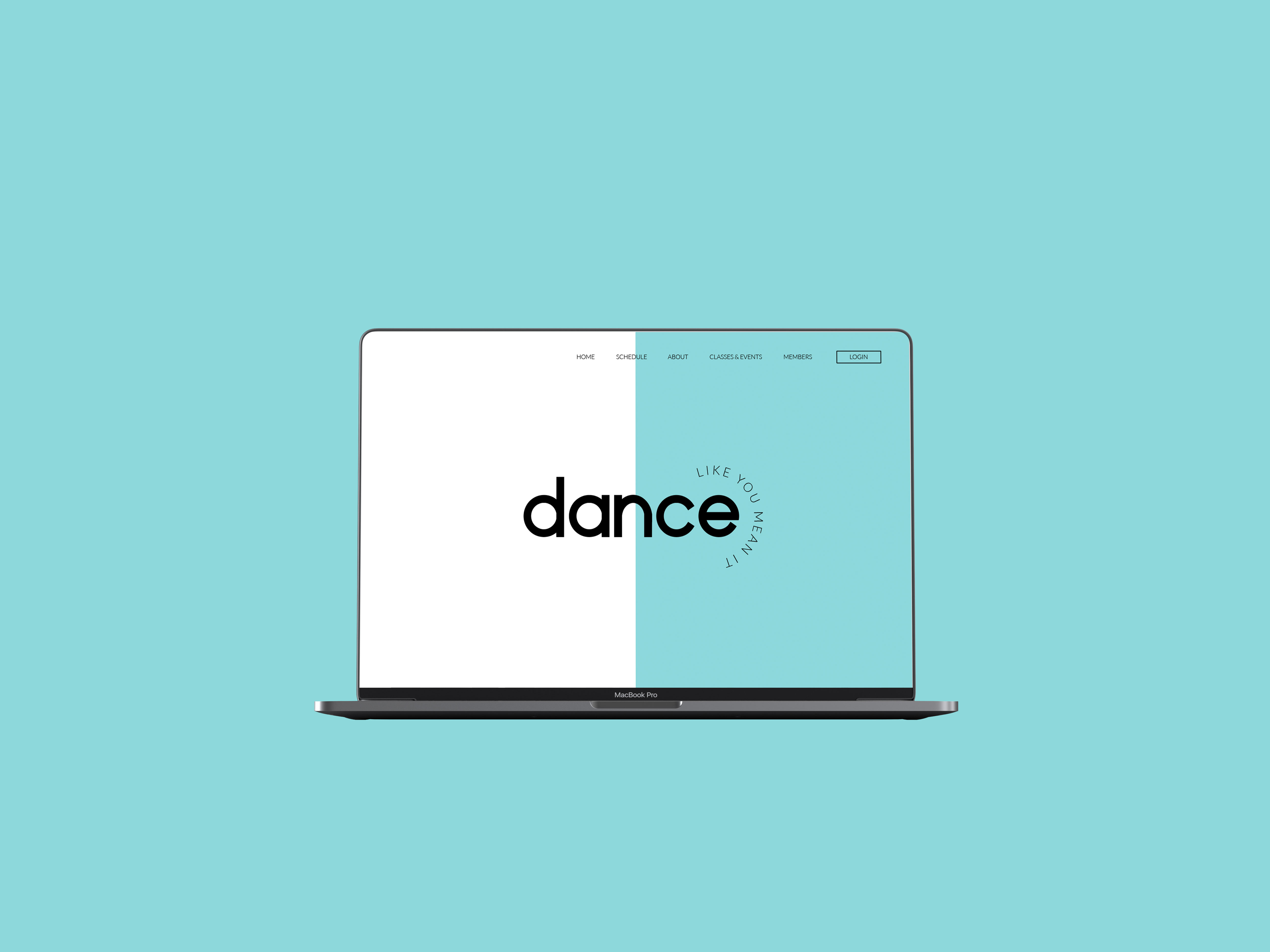 Dance Like You Mean It homepage on a MacBook screen