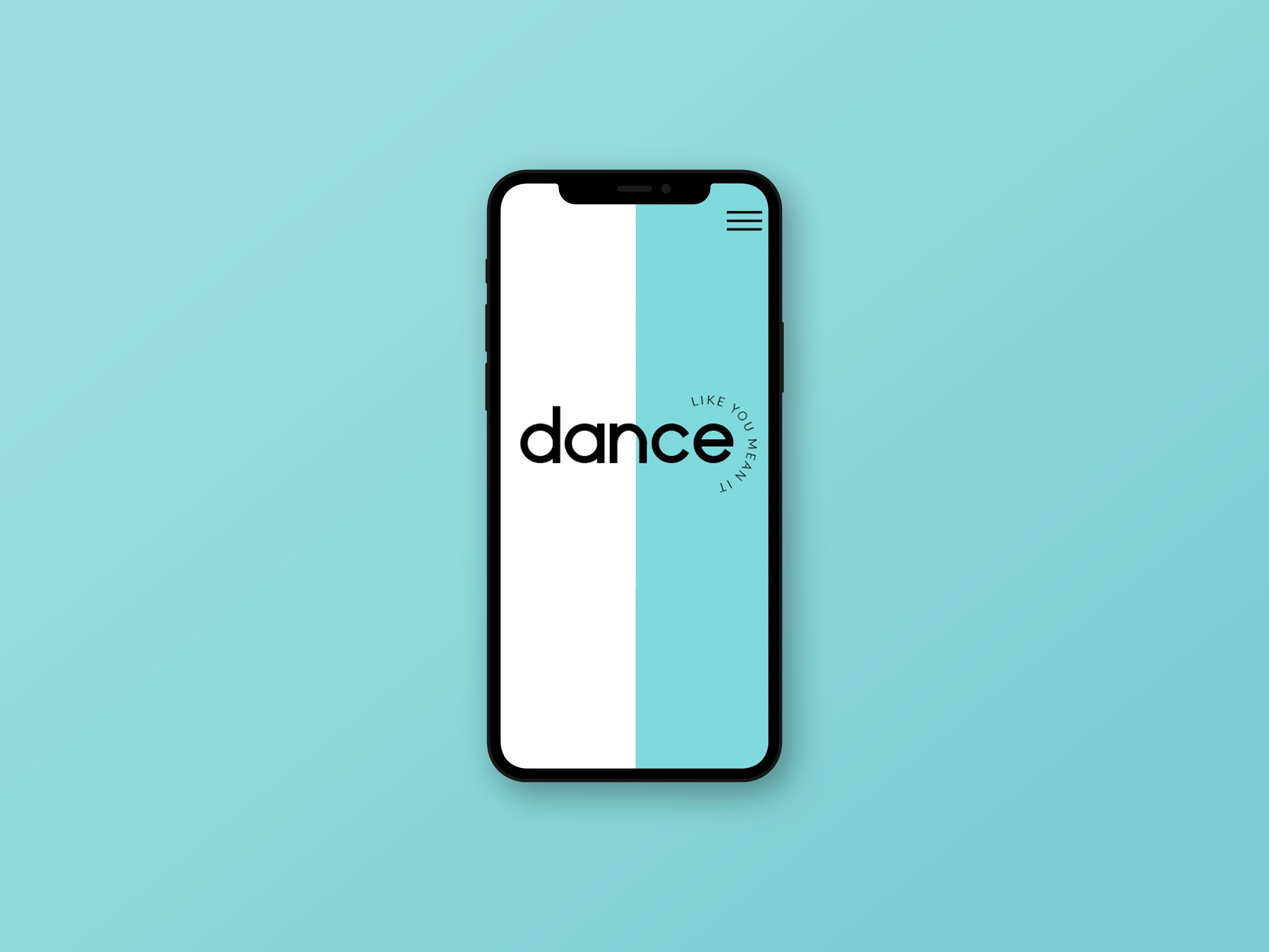 Dance Like You Mean It homepage on a iPhone