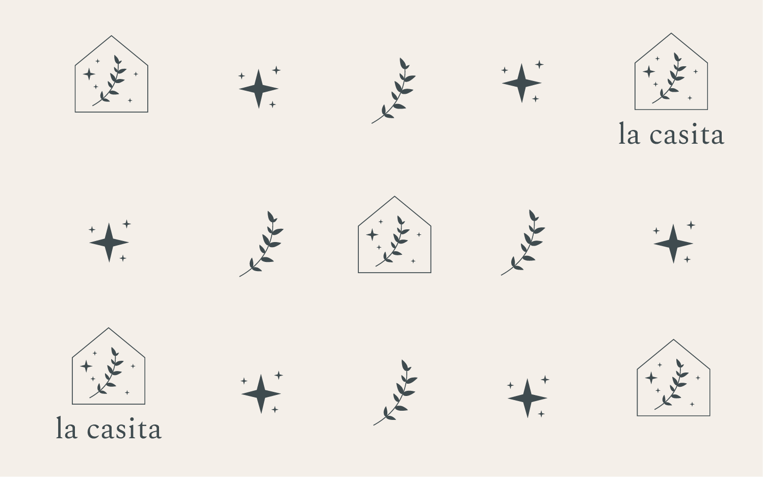 La Casita logos, branch elements and star elements in a pattern