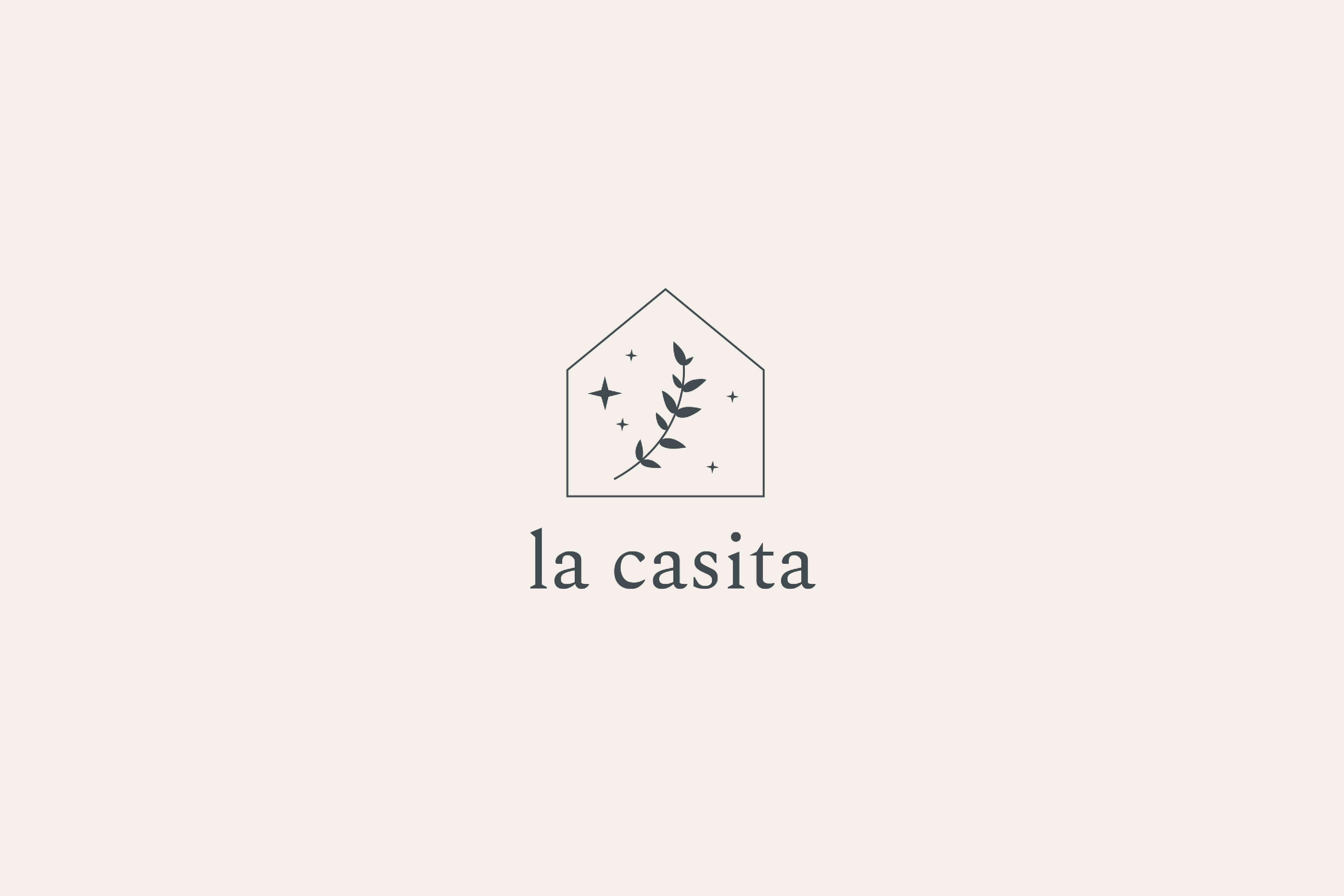 La Casita logo, a small house with branch and stars inside