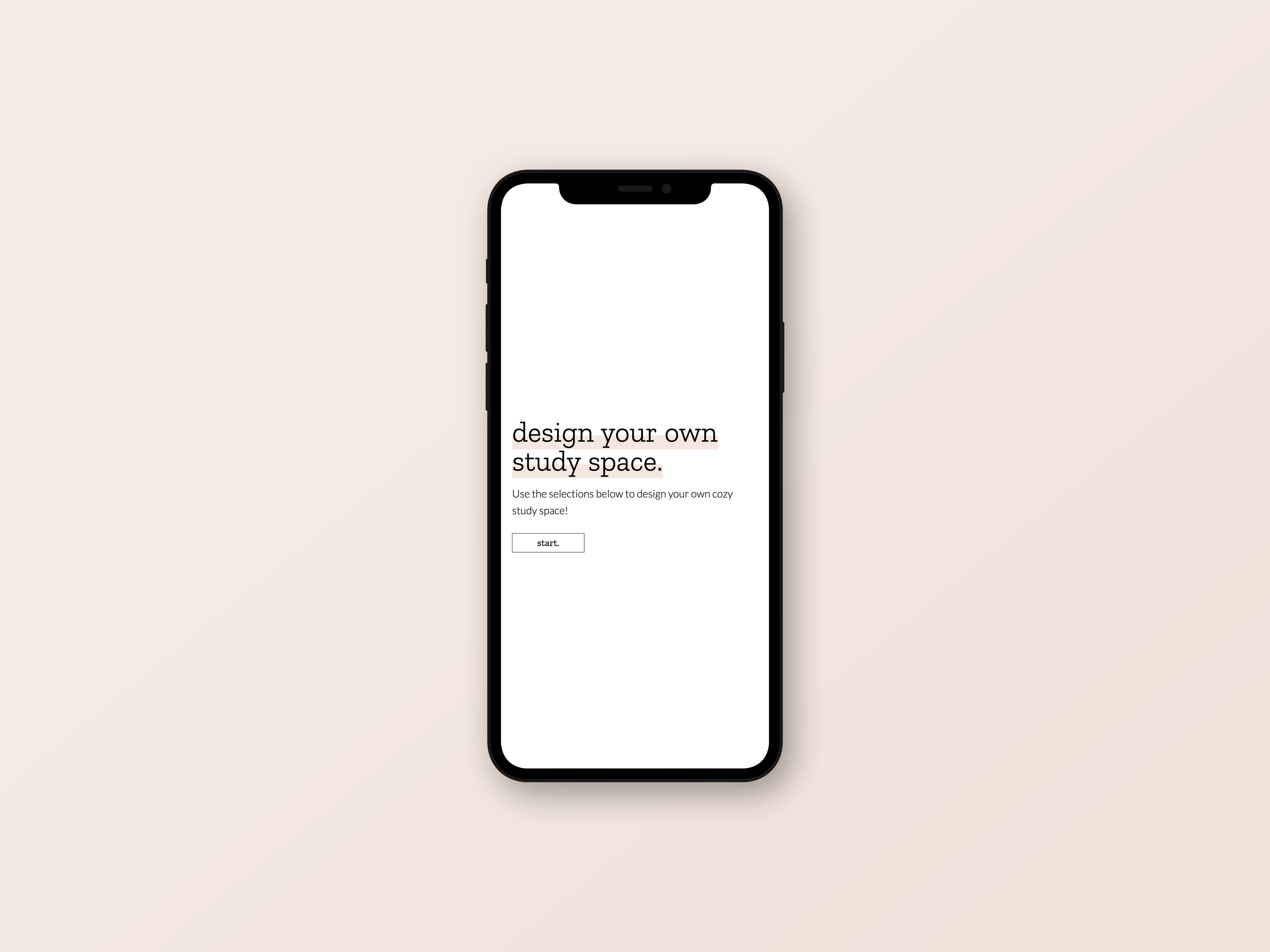 Design a Study Space page on an iPhone screen